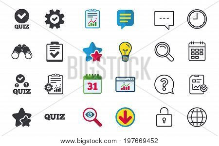 Quiz icons. Checklist with check mark symbol. Survey poll or questionnaire feedback form sign. Chat, Report and Calendar signs. Stars, Statistics and Download icons. Question, Clock and Globe. Vector