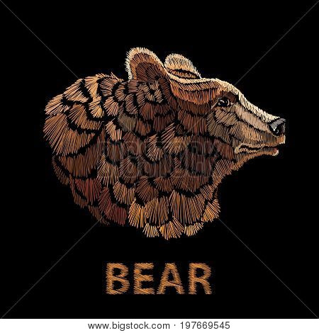 Bear embroidery vector template for clothes textiles t-shirt design. Head of bear embroidery. Symbol of tourism wild nature