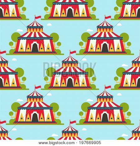 Circus tent marquee marquee with stripes and flags carnival entertainment amusement seamless pattern flat vector. Circus tents entertainment red park arena celebration.