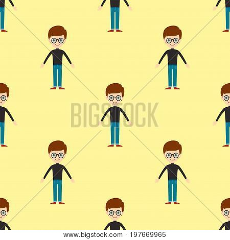 Young kid portrait seamless pattern friendship man character team happy people boy person vector illustration. Handsome teamwork casual fashion friends.