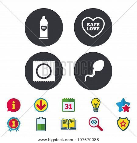 Safe sex love icons. Condom in package symbol. Sperm sign. Fertilization or insemination. Calendar, Information and Download signs. Stars, Award and Book icons. Light bulb, Shield and Search. Vector