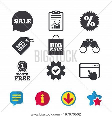 Sale speech bubble icon. Discount star symbol. Big sale shopping bag sign. First month free medal. Browser window, Report and Service signs. Binoculars, Information and Download icons. Stars and Chat