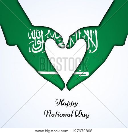 illustration of hands in Saudi Arabia flag background and heart design with Happy National Day text on the occasion of Saudi Arabia National Day