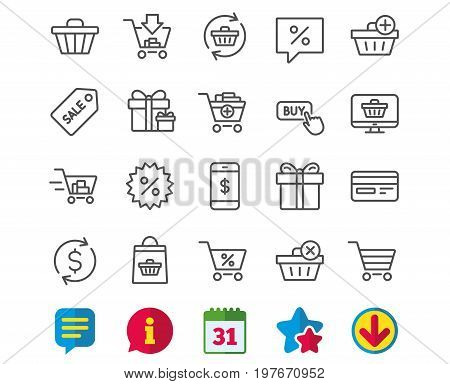 Shopping line icons. Gifts, Presents and Sale offer signs. Shopping cart, Tags and Delivery symbols. Speech bubble, Discount and Credit card. Online buying. Information, Calendar and Download signs