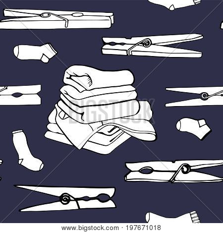 Bed linen, sheet, towel, socks and clothespins. Seamless pattern with symbols of laundry. Vector illustration.