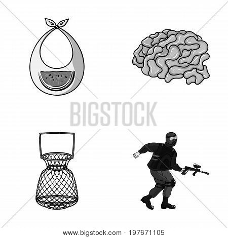 clothes, fishing and other  icon in cartoon style. medicine, paintball icons in set collection.