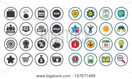 Set of Shopping, E-commerce and Business icons. Big sale, Gift box and Discounts signs. Clients, Sale and Shopping cart symbols. Calendar, Report and Book signs. Stars, Service and Download icons