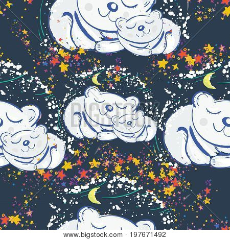 Polar bears sleep under the star sky seamless pattern. Mother and son polar bears cute kids print t-shirt design