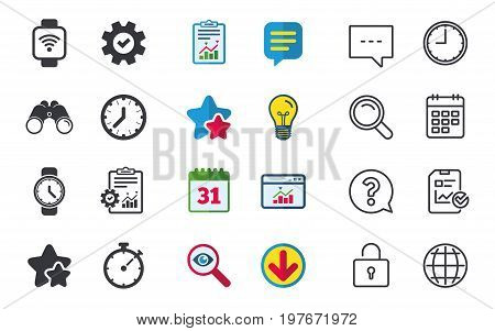 Smart watch wi-fi icons. Mechanical clock time, Stopwatch timer symbols. Wrist digital watch sign. Chat, Report and Calendar signs. Stars, Statistics and Download icons. Question, Clock and Globe