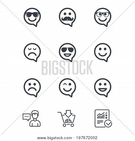 Smile speech bubbles icons. Happy, sad and wink faces signs. Sunglasses, mustache and laughing lol smiley symbols. Customer service, Shopping cart and Report line signs. Online shopping and Statistics