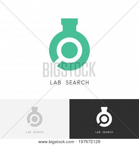 Lab search logo - laboratory test tube or bottle and loupe or magnifier symbol. Science, chemistry and research vector icon.