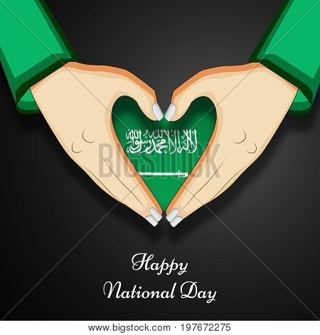 illustration of heart design in Saudi Arabia flag background and hands with Happy National Day text on the occasion of Saudi Arabia National Day