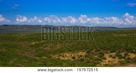 Steppe And Grassland In Kazakhstan. Beautiful Spring Landscape