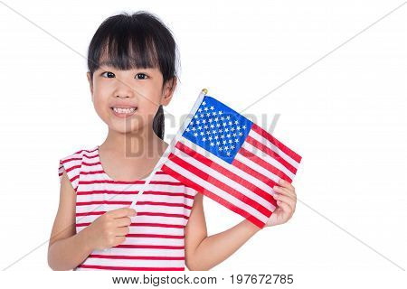Asian Chinese Little Girl Holding American Flag