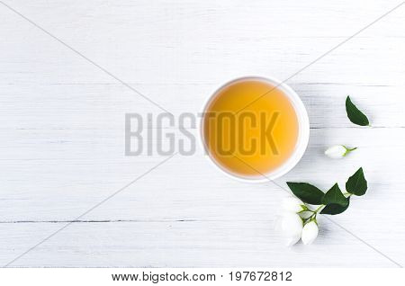 Green Tea With A Jasmine In White Cups. Negative Space For Text Or Disign