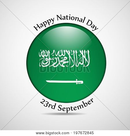 illustration of button in Saudi Arabia flag background with Happy National Day 23rd september text on the occasion of Saudi Arabia National Day