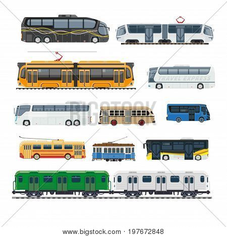 Spacious city and long distance buses, futuristic trams, fast trains and cozy retro trolleybuses. Comfortable modern public transport big isolated vector illustrations set on white background.