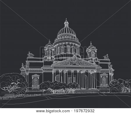 Sketch of Isaacs Cathedral in Saint Petersburg. Painted with chalk on black