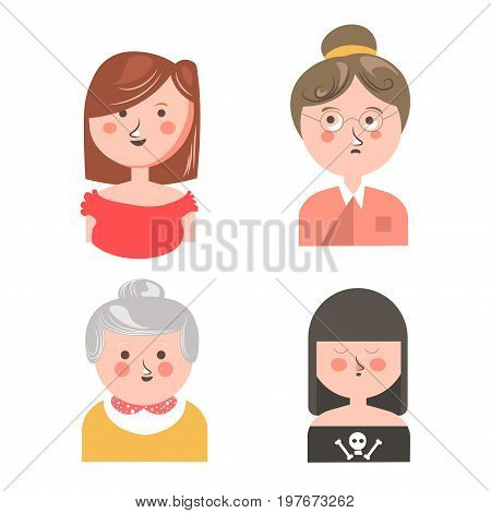 Cheerful girl in red dress, middle-aged woman in eyesight glasses, cute granny with grey hair in yellow jacket, gothic teenager with dark hair and skull on shirt isolated vector illustrations set.