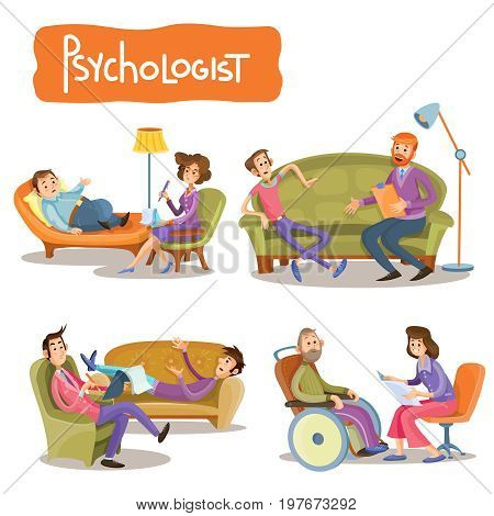 Vector cartoon illustrations the patient is talking with psychotherapist, consultation of psychologist. Depression businessman, teenage problems, alcohol and drug addiction, persons with disabilities