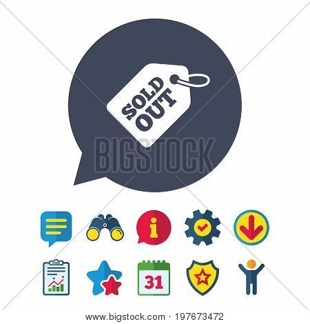 Sold out tag icon. Shopping message sign. Special offer banner symbol. Information, Report and Speech bubble signs. Binoculars, Service and Download, Stars icons. Vector