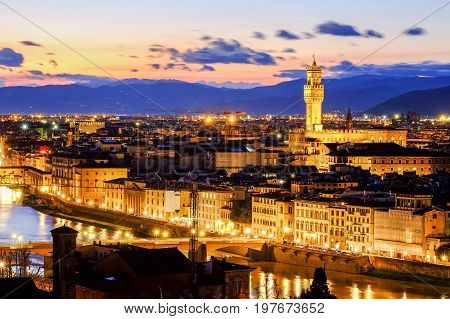 Florence scenic view at sunset from Piazzale Michelangelo, Italy