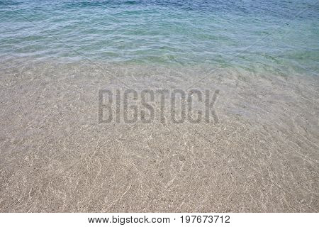 Crystal clear water and white sand of Waikiki Beach