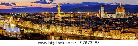 Beautiful panoramic view of Florence from Piazzale Michelangelo at sunset, Florence, Italy