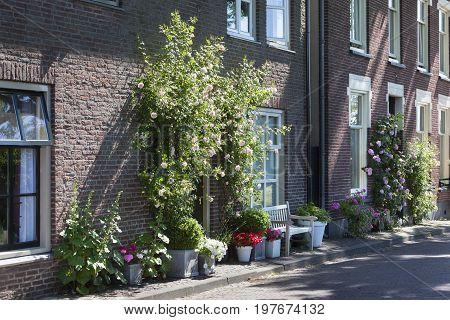 Cozy street with flowers in Buren in the Netherlands
