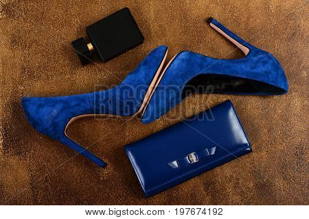 Female Footwear: Blue High Heel Shoes With Clutch And Perfume