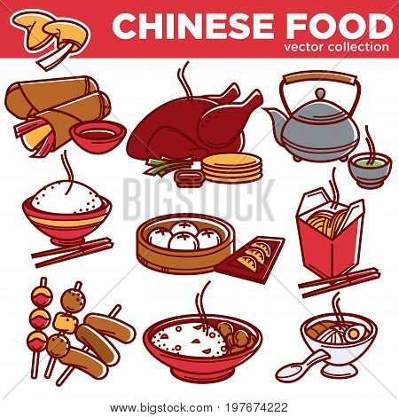 Chinese cuisine traditional food dishes flat icons. Vector Peking duck, seafood or hot noodles soup, meat dumplings or vegetable rolls, rice and green tea with chopsticks