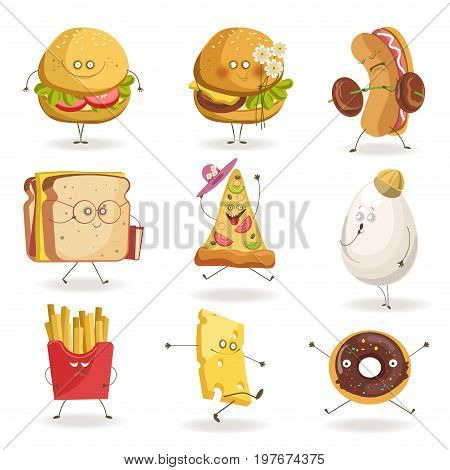 Cartooon fast food characters with cheerful human face expressions. Cheeseburger smiling or holding flowers, hod dog with barbell and sandwich with book, grateful pizza hat. Vector flat icons set