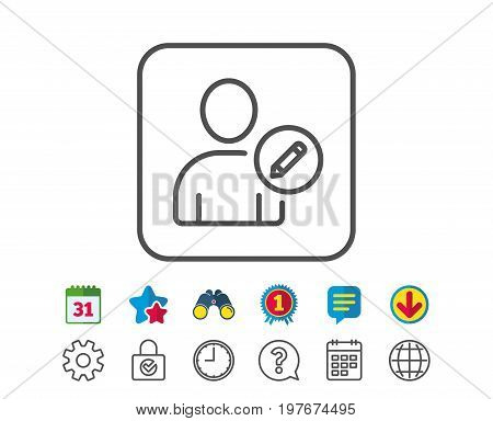 Edit User line icon. Profile Avatar with pencil sign. Person silhouette symbol. Calendar, Globe and Chat line signs. Binoculars, Award and Download icons. Editable stroke. Vector