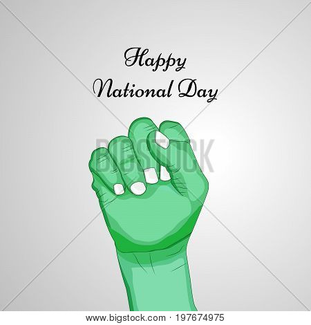 illustration of hand with Happy National Day text on the occasion of Saudi Arabia National Day