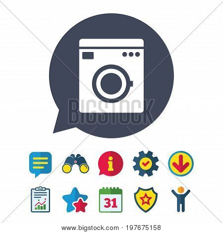 Washing machine icon. Home appliances symbol. Information, Report and Speech bubble signs. Binoculars, Service and Download, Stars icons. Vector