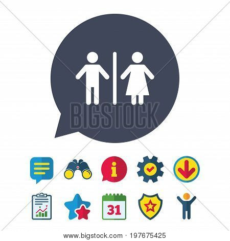 WC sign icon. Toilet symbol. Male and Female toilet. Information, Report and Speech bubble signs. Binoculars, Service and Download, Stars icons. Vector