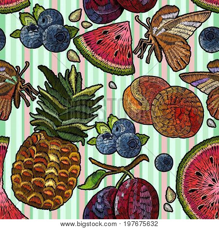 Embroidery tropical fruit seamless pattern. Summer embroidery watermelon pineapple plums berries butterflies seamless pattern. Template for clothes textiles t-shirt design