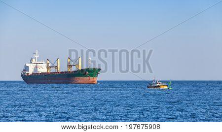 Bulk Carrier. Big Cargo Ship Sails On The Sea