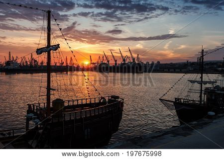 Sailing Ship And Pleasure Boat Stand Moored