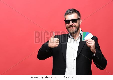 Businessman With Empty Cards, Copy Space. Man With Beard