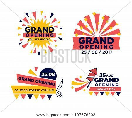 Vector illustration of different grand opening festive invitations isolated on white.