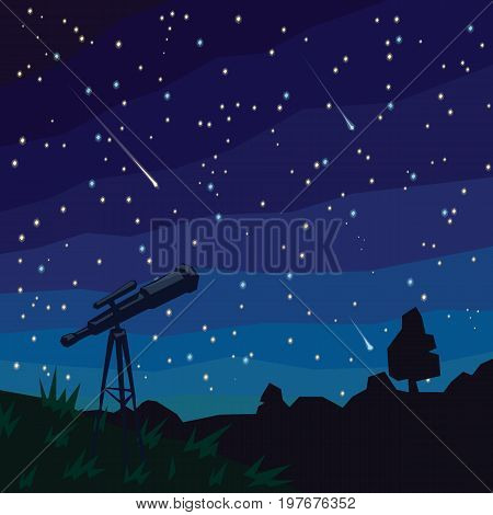Stargazing. Three Falling Stars. Natural landscape, night starry sky and telescope on foreground. Meteor shower. Asteroids. Vector illustration in flat faceted style. Scene for your design.