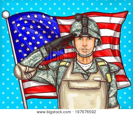 Vector pop art patriotic illustration a male soldier in bulletproof vest and helmet render military salute against a fluttering American flag. Template for Independence Day, Memorial Day and Flag Day