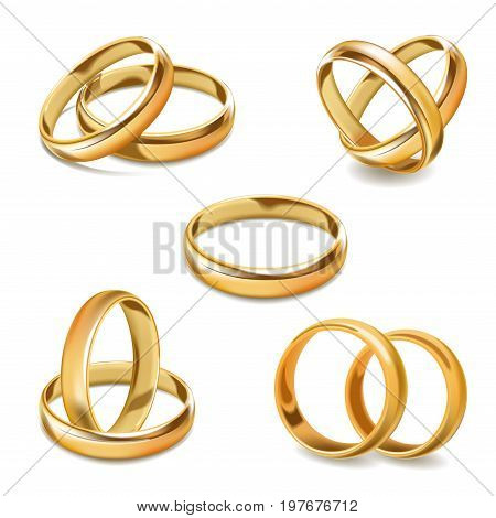 Gold wedding rings vector 3D realistic icons. Isolated set of gold jewelry for two bride and groom romance engagement ceremony greeting card or invitation design template