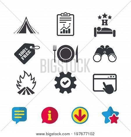 Food, sleep, camping tent and fire icons. Knife, fork and dish. Hotel or bed and breakfast. Road signs. Browser window, Report and Service signs. Binoculars, Information and Download icons. Vector
