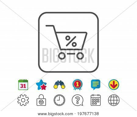 Shopping cart with Percentage line icon. Online buying sign. Supermarket basket symbol. Calendar, Globe and Chat line signs. Binoculars, Award and Download icons. Editable stroke. Vector