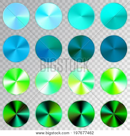 Conic Gradients Set, Blue, Green, Aquamarine Texture Collection, Shine, Glowing Objects. Transparent