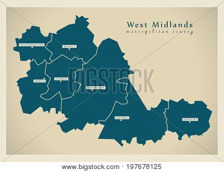 Modern Map - West Midlands Metropolitan County With Cities And Districts England Uk