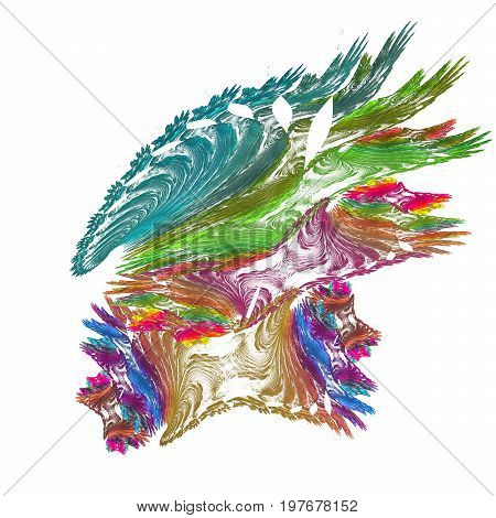 Bright fractal colorful hedgehog isolated on white background can be used for tile.