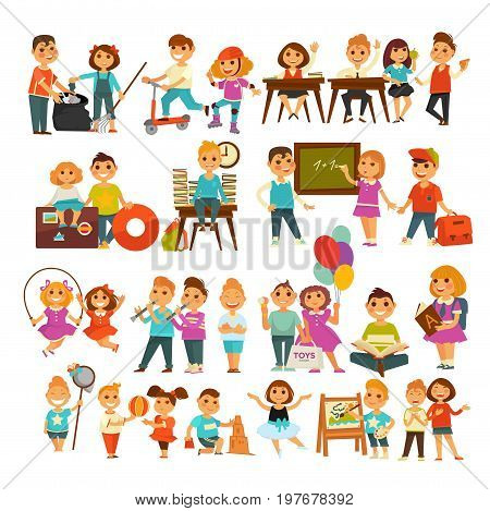Children in school or kindergarten outdoor activity. Boys and girls at lessons, playing games or singing and dancing, on travel trip, eating and drawing pictures in nature. Vector flat icons set
